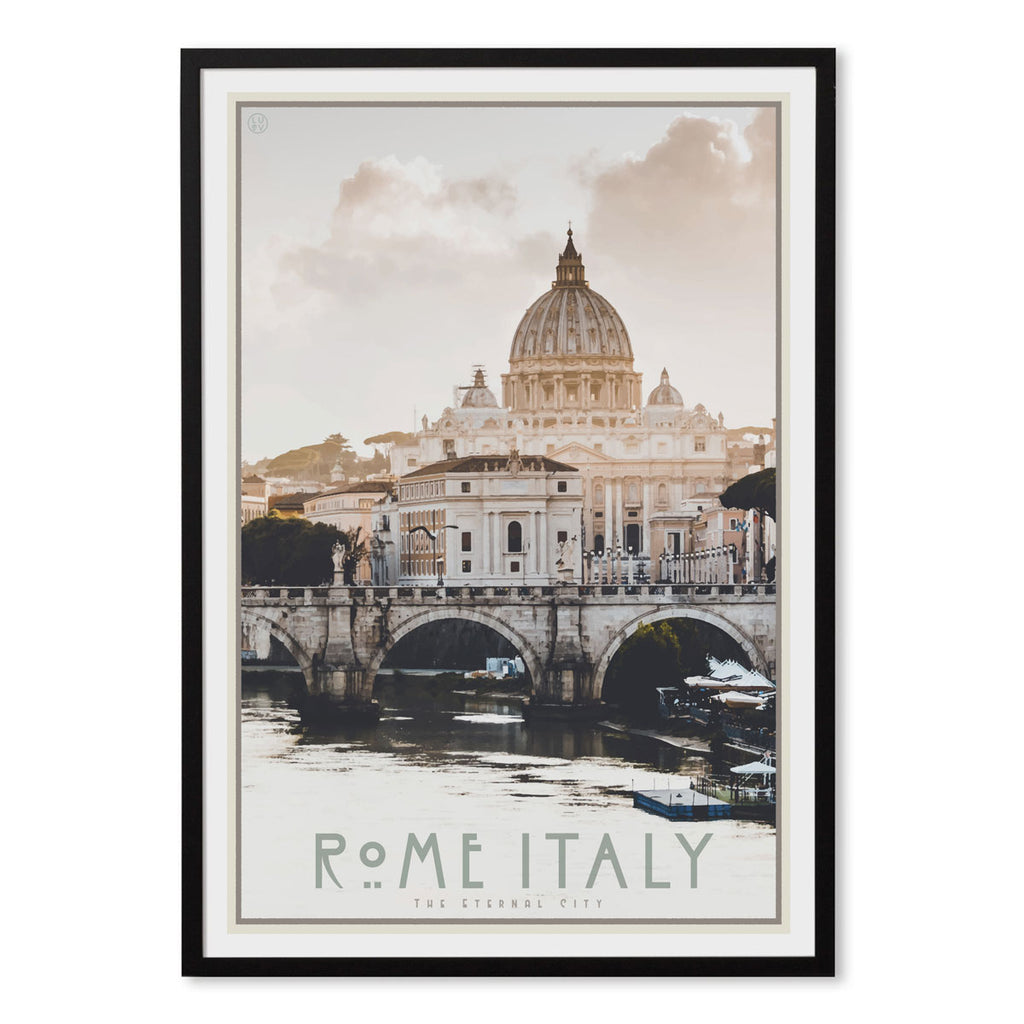Rome Italy vintage travel style black framed poster by places we luv