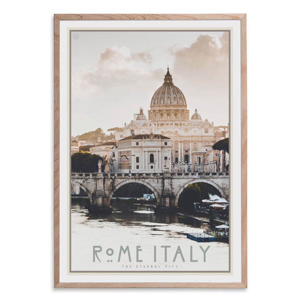 Rome Italy vintage travel style oak framed poster by places we luv