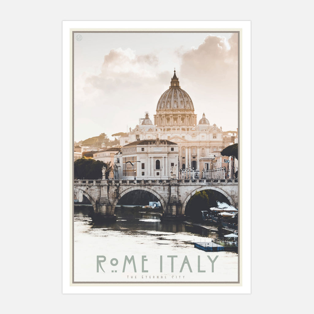 Rome Italy vintage travel style poster by places we luv
