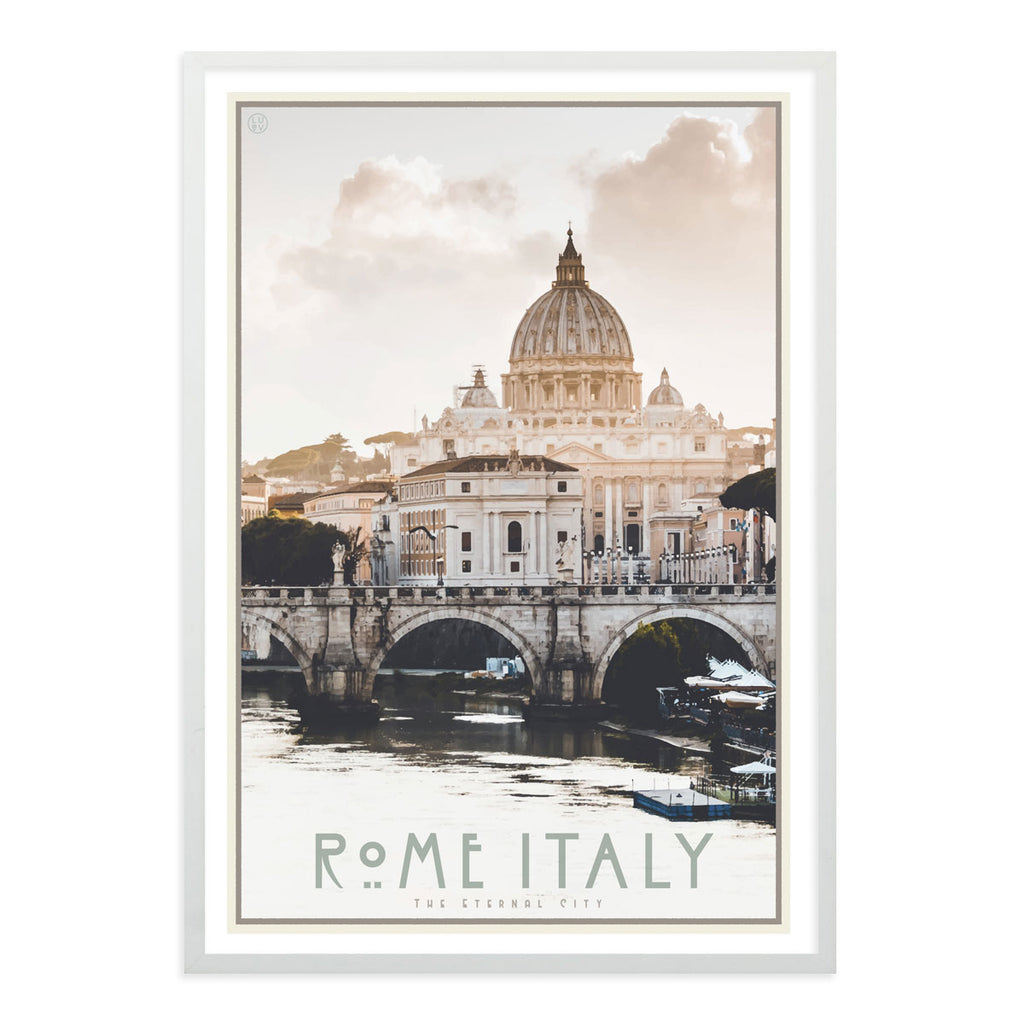 Rome Italy vintage travel style white framed poster by places we luv