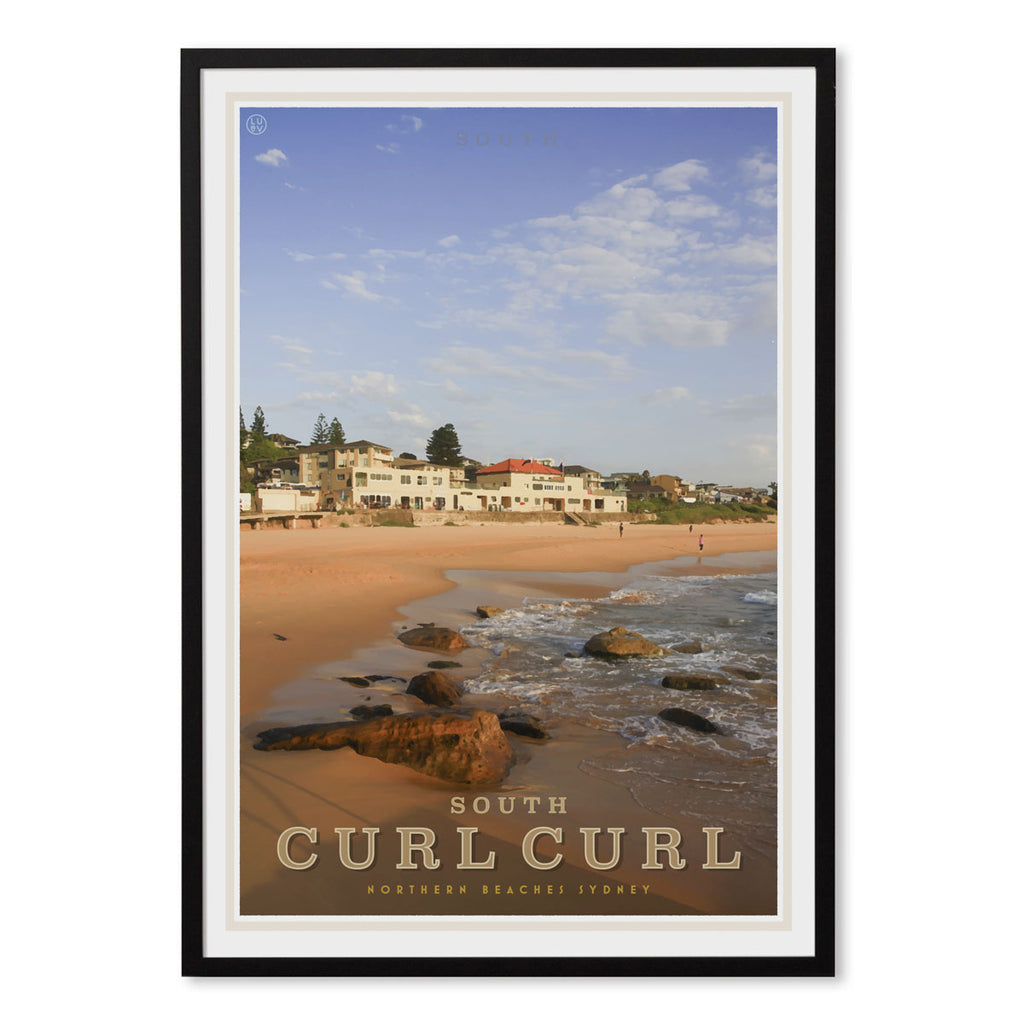 Curl Curl South vintage style travel black framed poster by places we luv