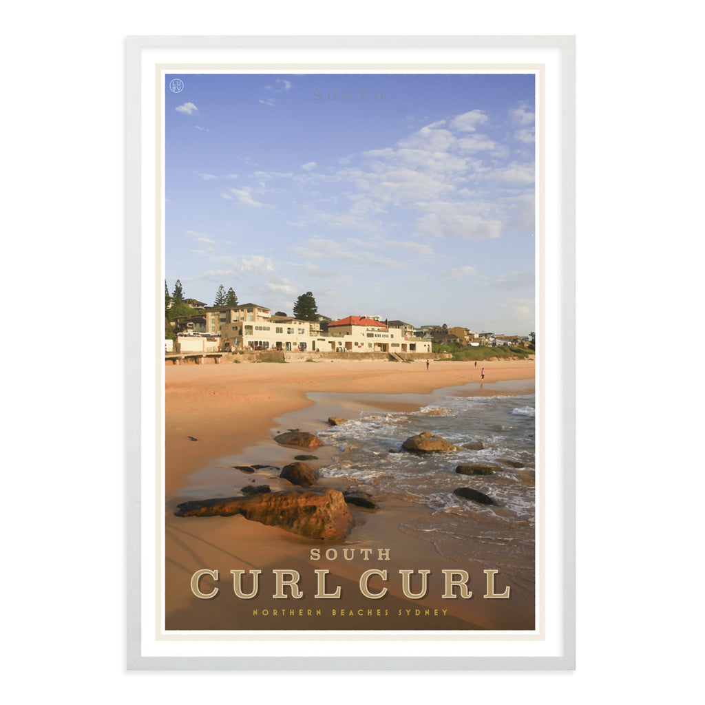 Curl Curl South vintage style travel poster by places we luv