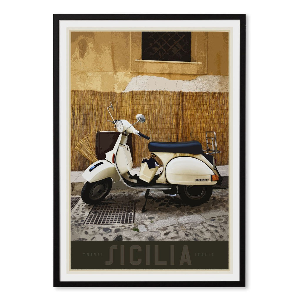 Sicily Vespa vintage travel style black framed poster designed by places we luv