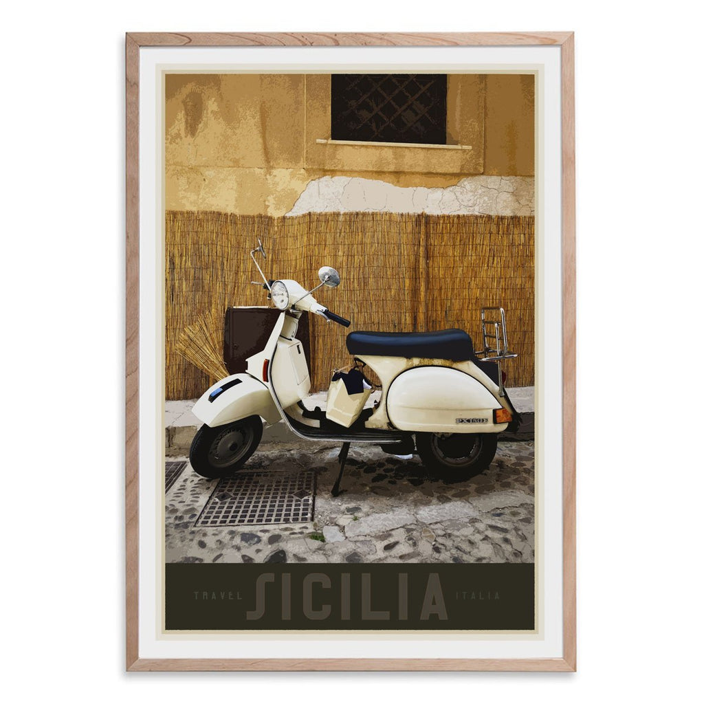 Sicily Vespa vintage travel style oak framed poster designed by places we luv