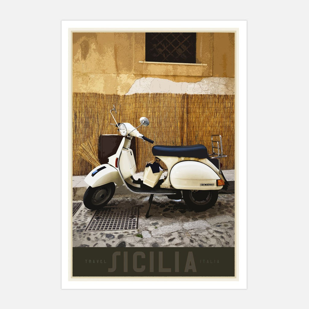Sicily Vespa vintage travel style poster designed by places we luv