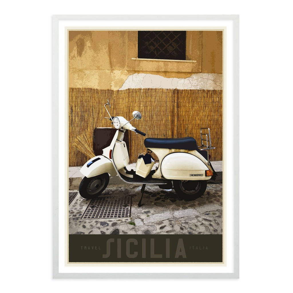 Sicily Vespa vintage travel style white framed poster designed by places we luv