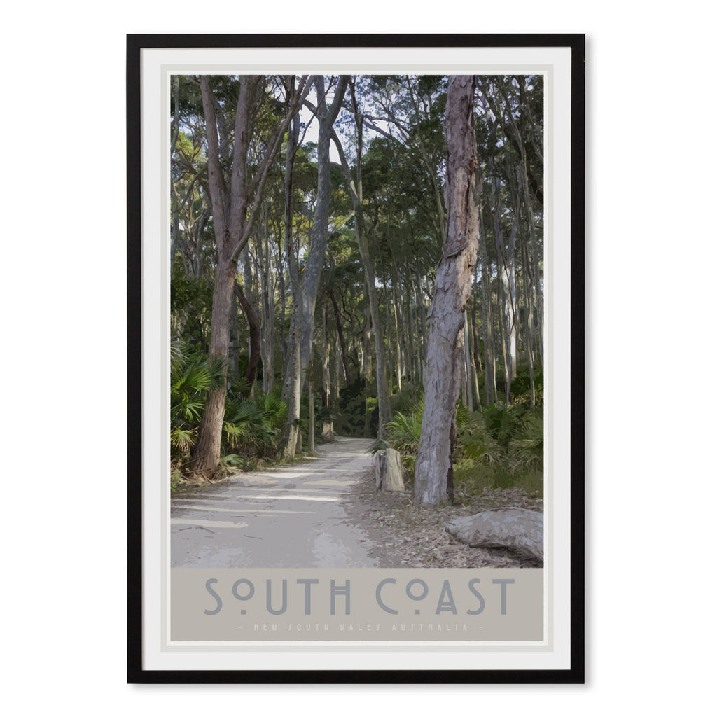 South Coast #2 black framed print. Original design by places we luv