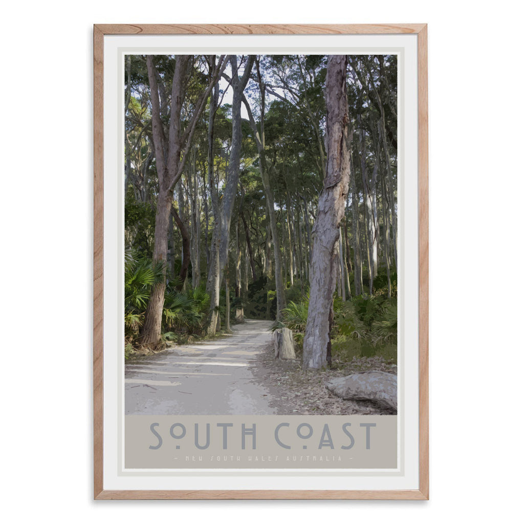 South Coast #2 print in raw wood frame. Original design by places we luv
