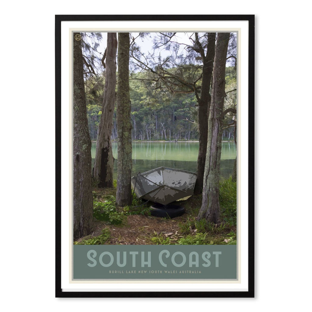 South Coast print in black frame, vintage travel style designed by Places We Luv