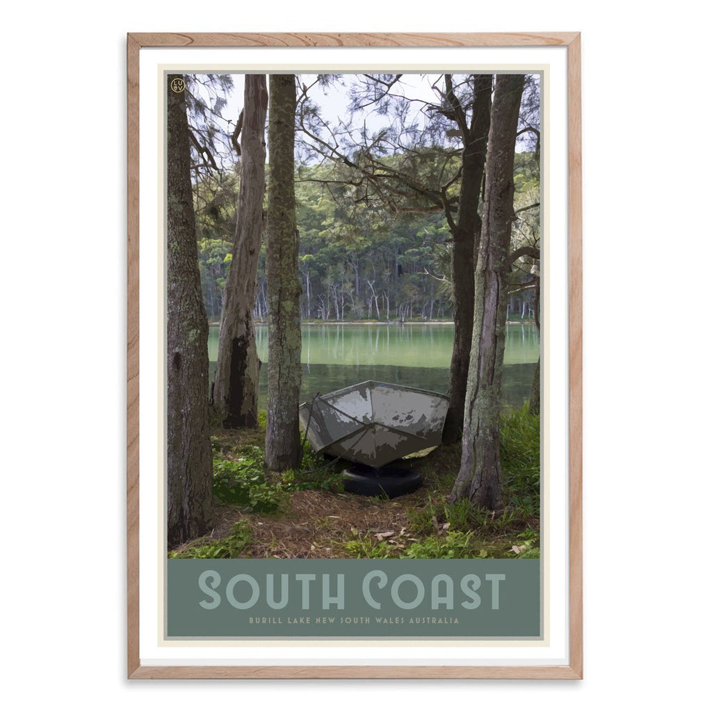 South Coast print in raw wood frame, vintage travel style designed by Places We Luv