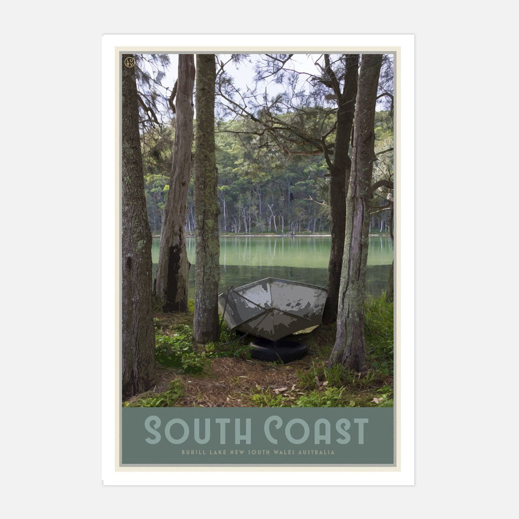 South Coast print and poster, vintage travel style designed by Places We Luv