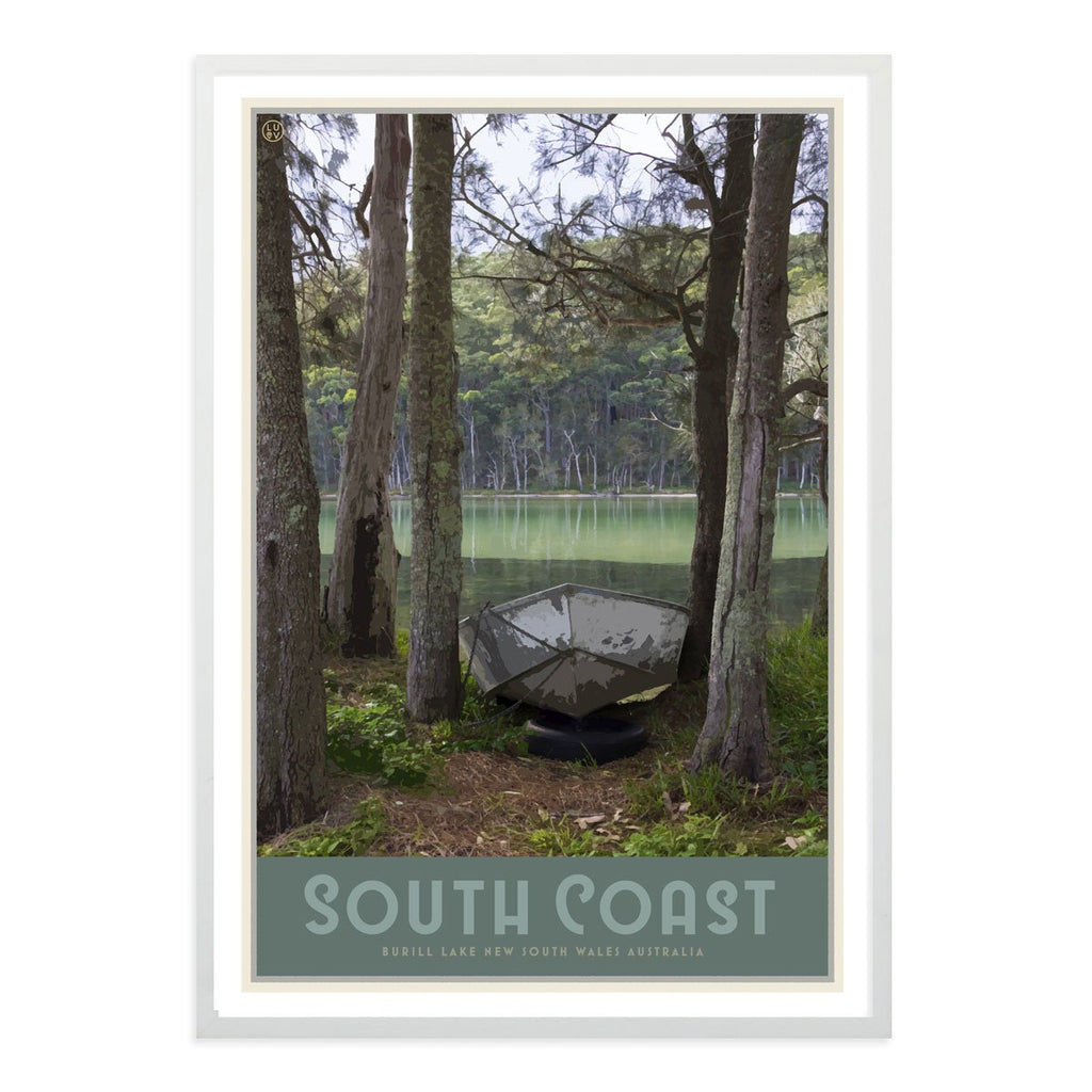 South Coast print and framed poster, vintage travel style designed by Places We Luv