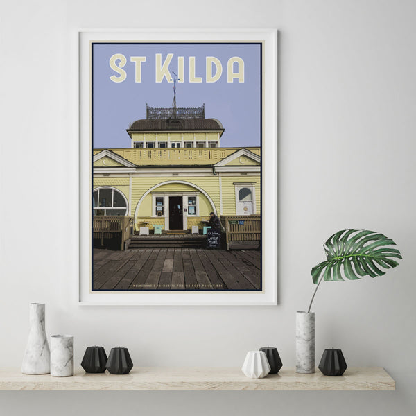 Places We Luv St Kilda art print in white frame
