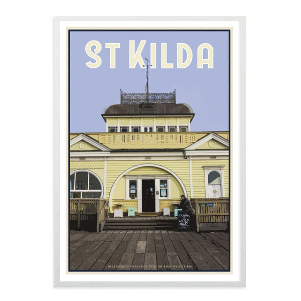 White framed St Kilda Pier Print - Places We Luv