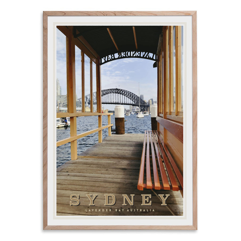 Lavender Bay Sydney vintage style travel oak framed print by places we luv