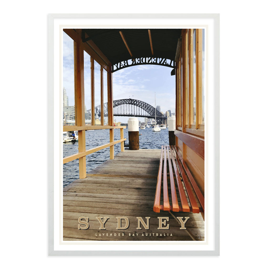 Sydney Lavender Bay vintage style travel white framed poster by places we luv