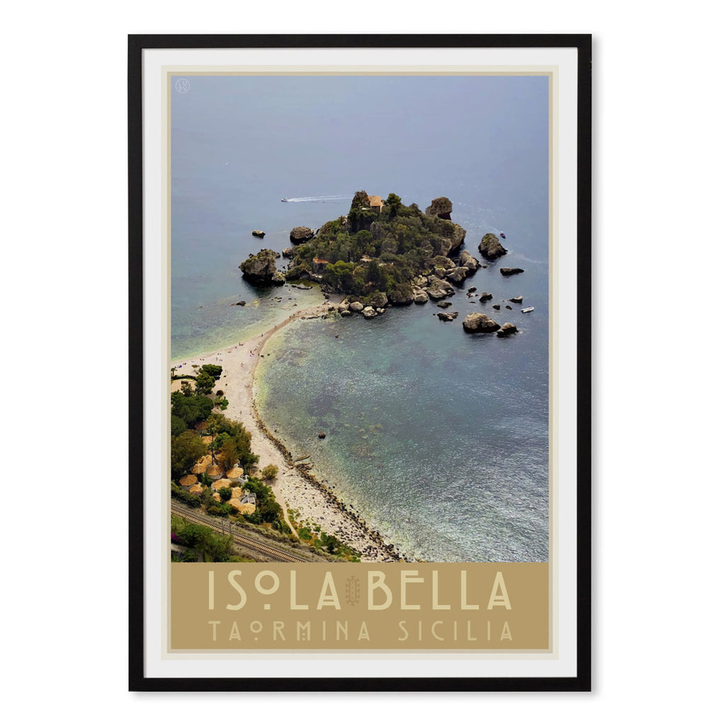 Taormina Sicily vintage travel style black framed print by places we luv