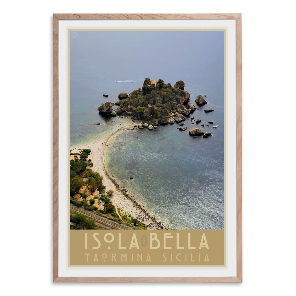 Taormina Sicily vintage travel style oak framed print by places we luv