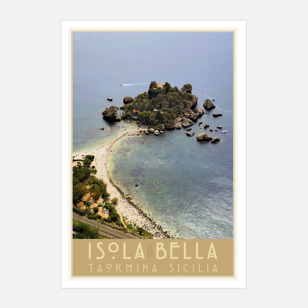 Taormina Sicily vintage travel style print by places we luv