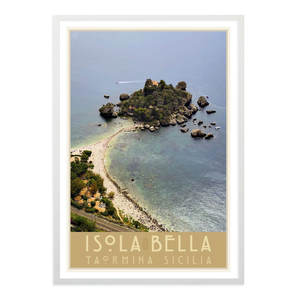 Taormina Sicily vintage travel style white framed poster by places we luv