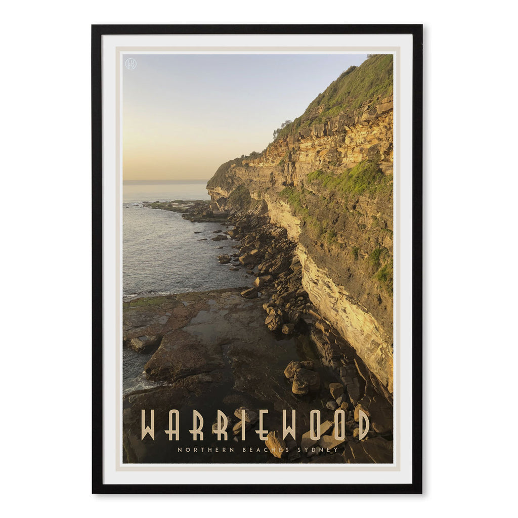 Warriewood vintage travel style framed print designed by places we luv