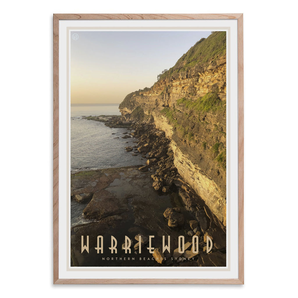 Warriewood vintage travel style oak framed print designed by places we luv