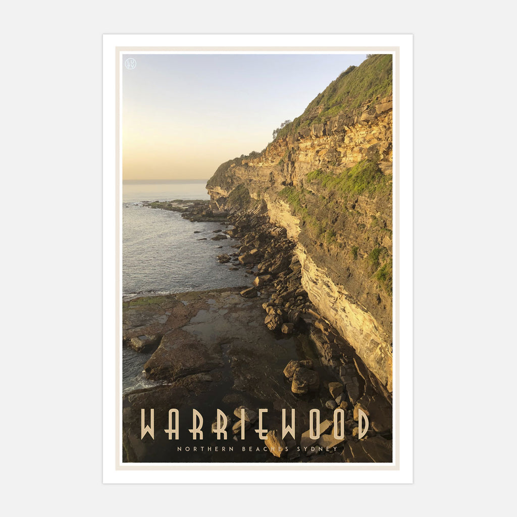 Warriewood vintage travel style print designed by places we luv