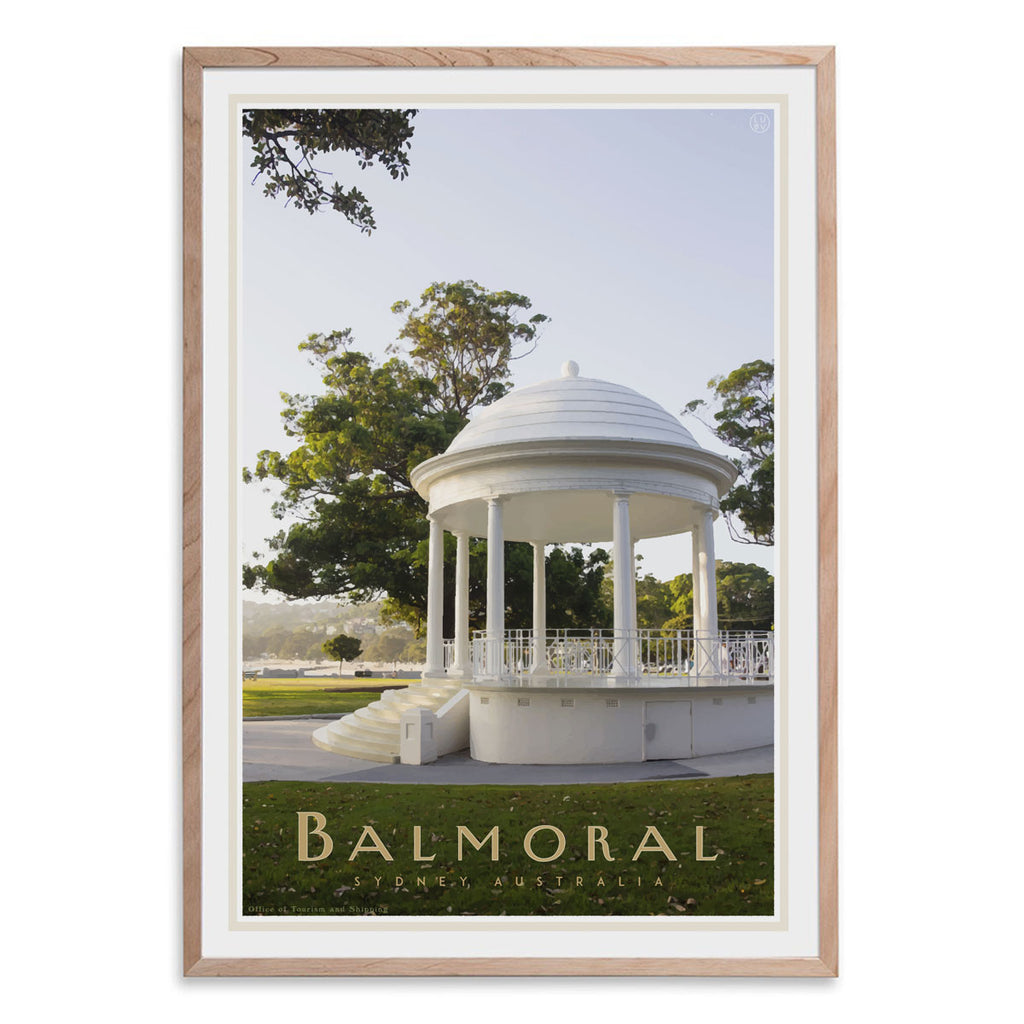 Balmoral Rotunda oak framed Print  - vintage travel style by placesweluv travel style