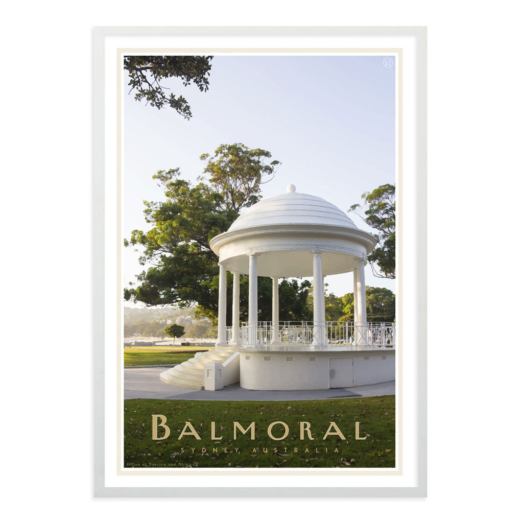 Balmoral Rotunda white framed Print  - vintage travel style by placesweluv travel style