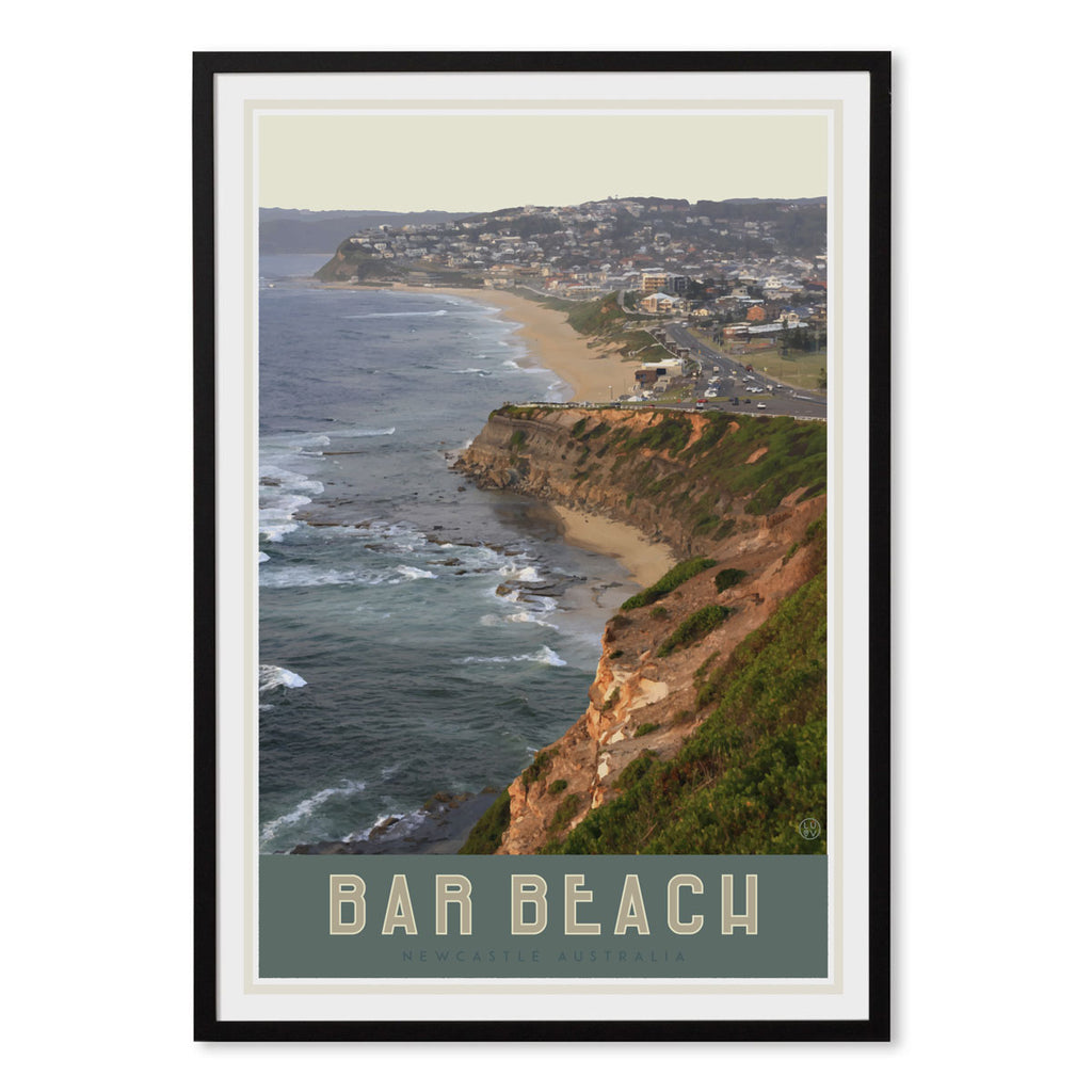 Newcastles Bar Beach travel style black framed poster original design by placesweluv