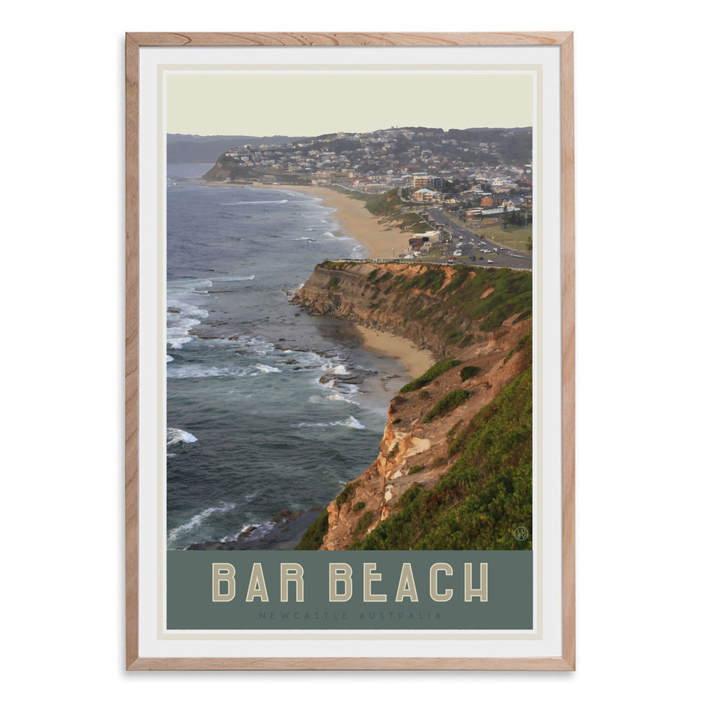 Newcastles Bar Beach travel style framed oak poster design by placesweluv
