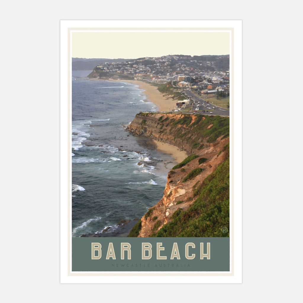 Newcastles Bar Beach travel style white framed poster by placesweluv