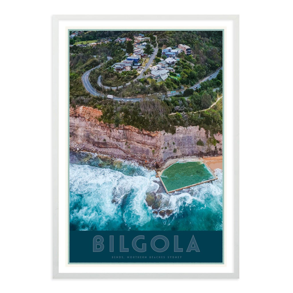 Bilgola Bends white framed print vintage travel style by places we luv