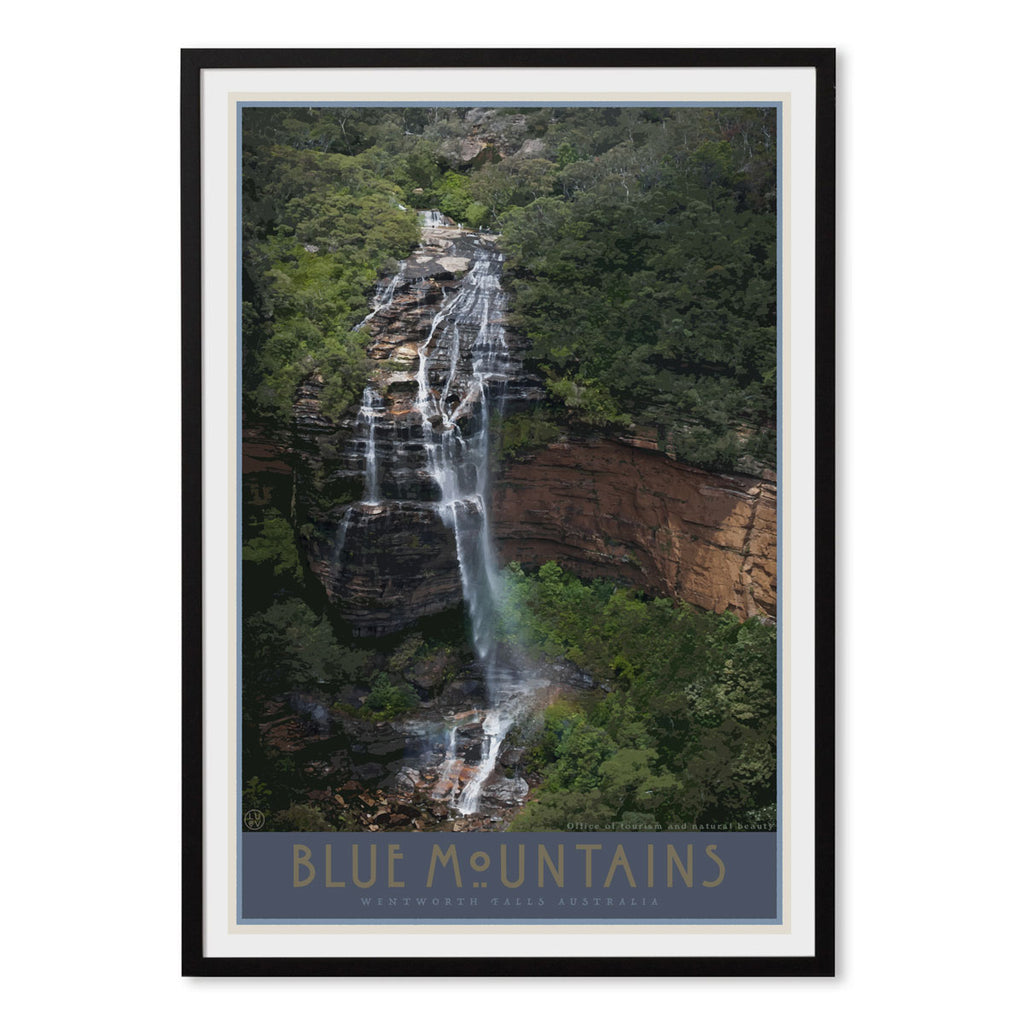 Blue Mountains Wentworth Falls vintage travel style black framed art print by Places We Luv