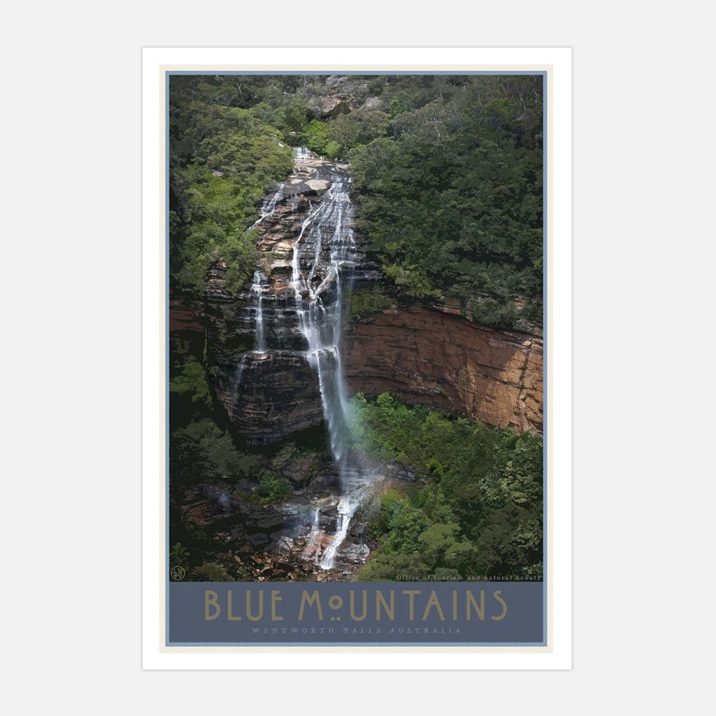 Blue Mountains Wentworth Falls vintage travel style art print by Places We Luv