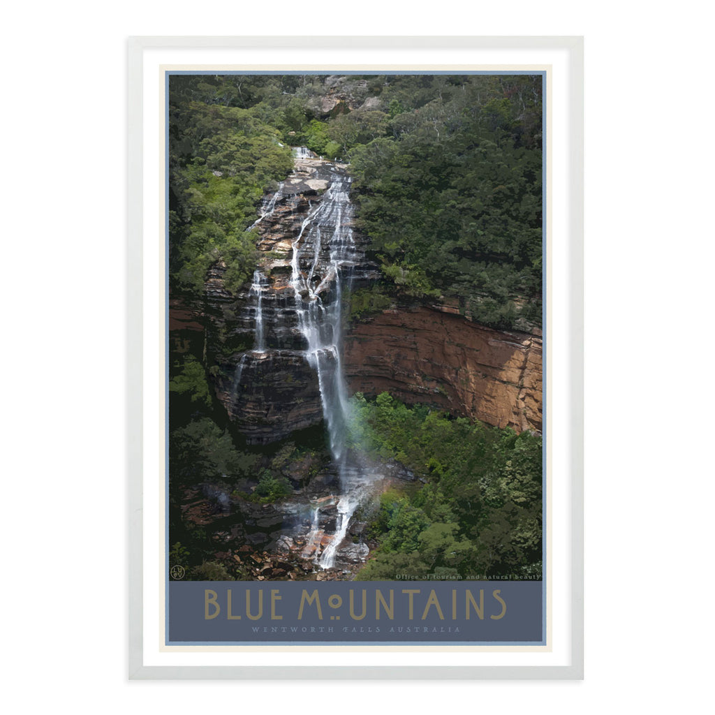 Blue Mountains Wentworth Falls vintage travel style white framed art print by Places We Luv