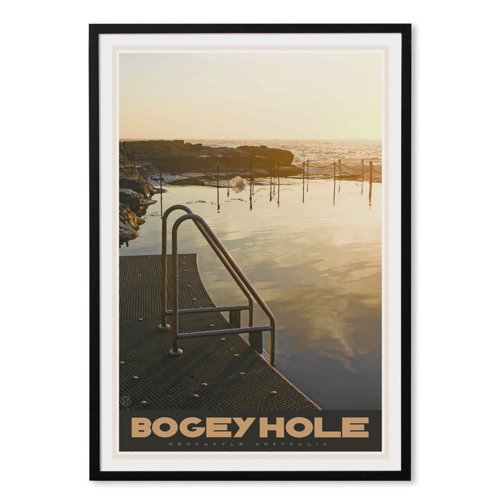 Newcastle Bogey Hole vintage travel style black framed print by places we luv