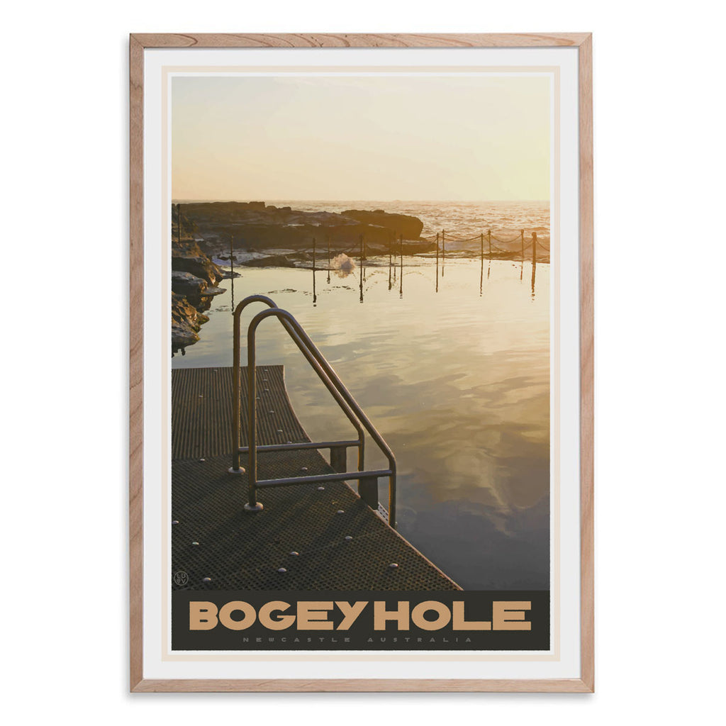 Newcastle Bogey Hole vintage travel style oak framed print by places we luv