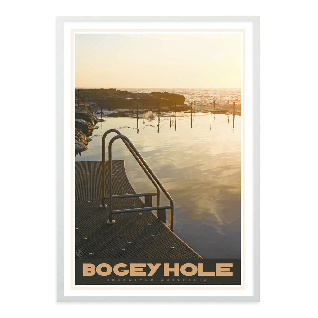 Newcastle Bogey Hole vintage travel style white framed print by places we luv