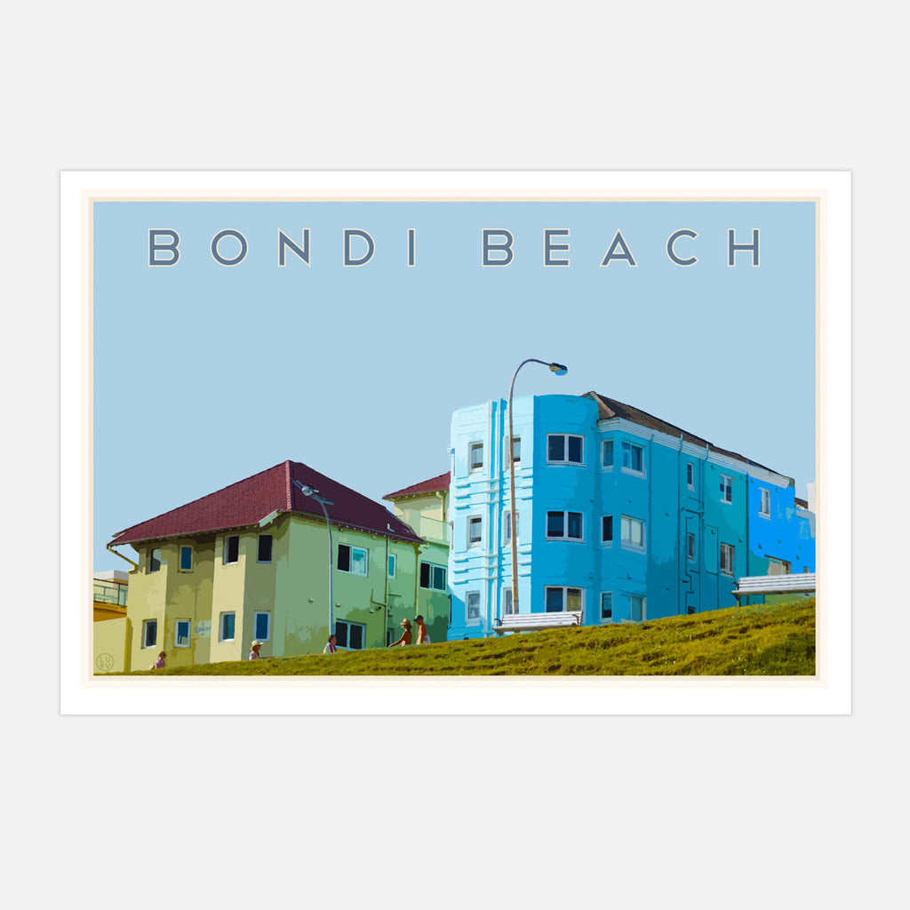 Bondi Beach Pool Print - vintage style travel poster by Places We Luv