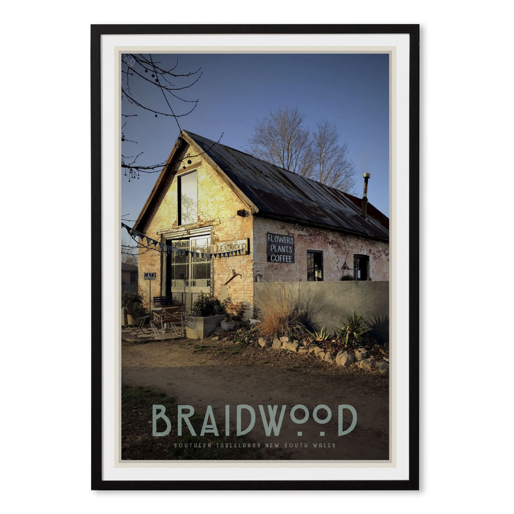 Braidwood cafe black framed vintage travel style poster. Original design by Places We Luv