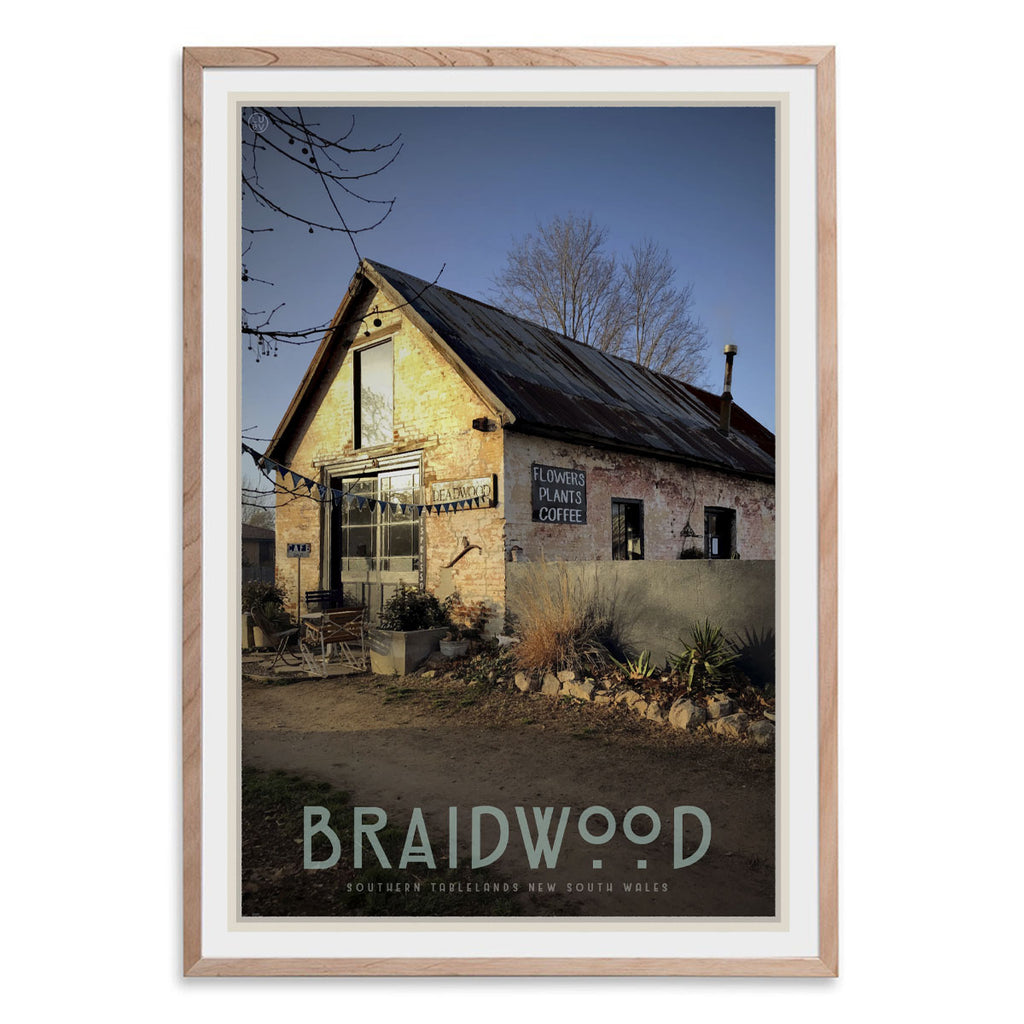 Braidwood cafe oak framed vintage travel style poster. Original design by Places We Luv