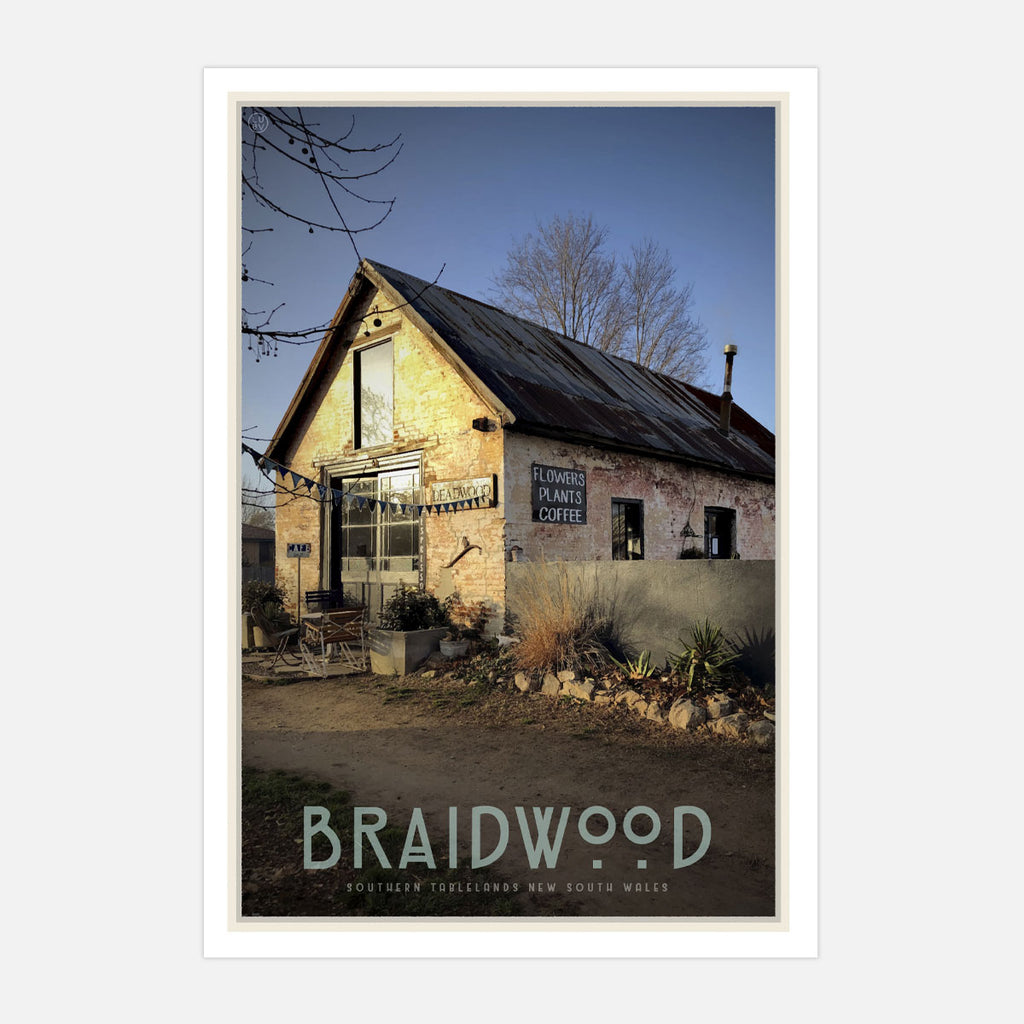 Braidwood cafe vintage travel style poster. Original design by Places We Luv