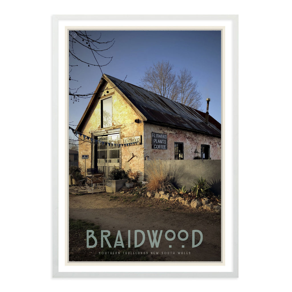 Braidwood cafe framed vintage travel style poster. Original design by Places We Luv