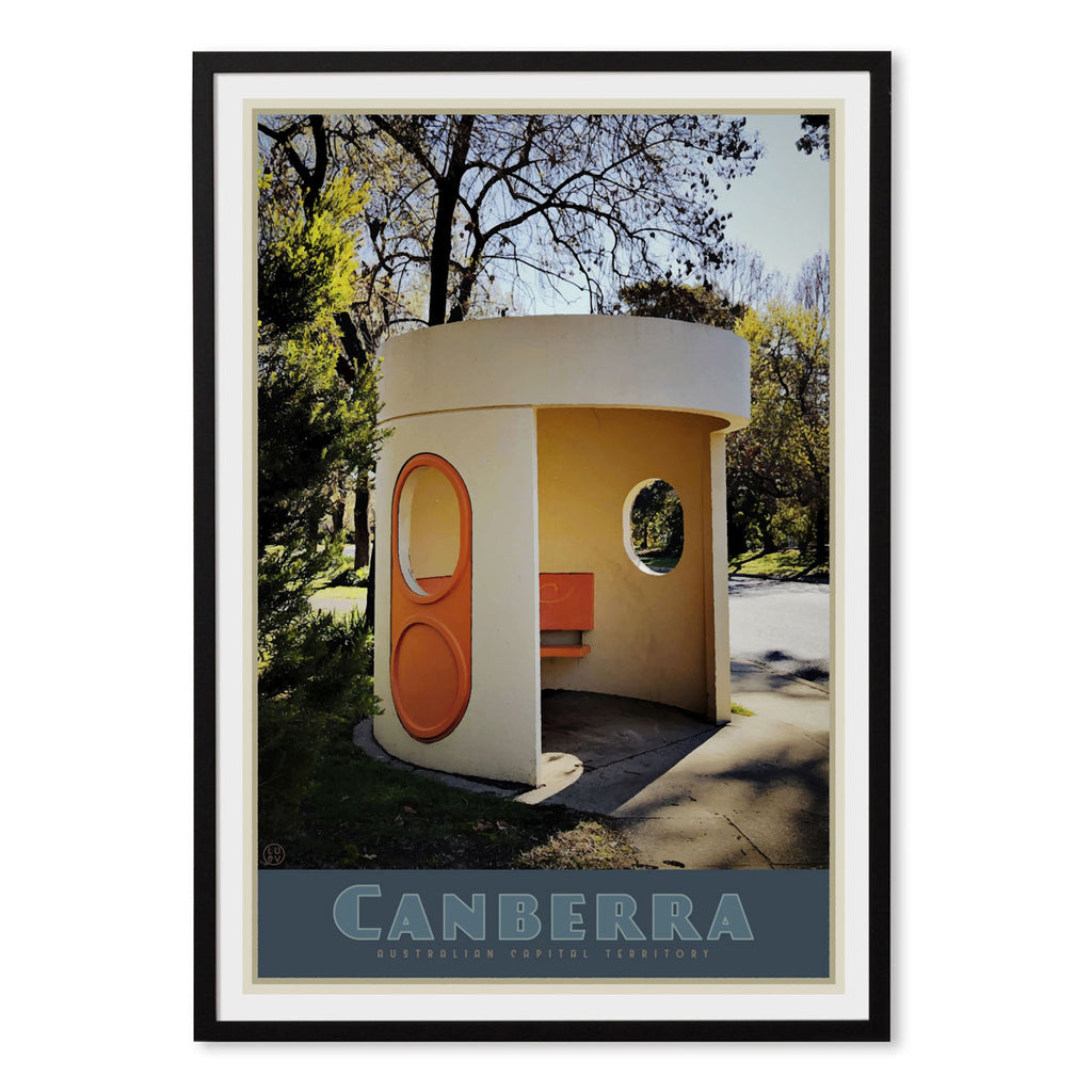 Canberra busstop black framed vintage travel poster. Original design by Places we luv