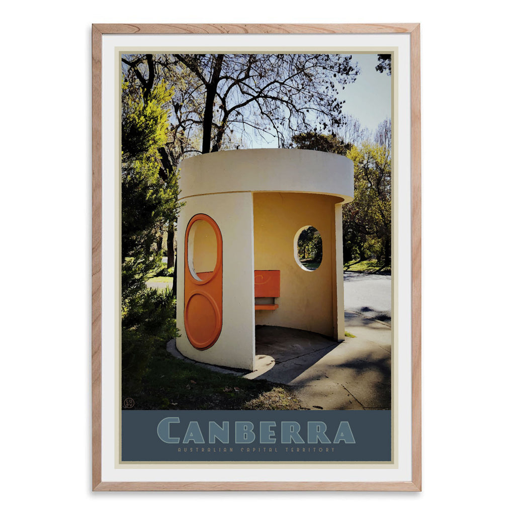 Canberra busstop oak framed vintage travel poster. Original design by Places we luv