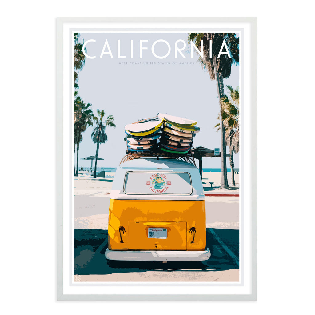 california vintage travel style framed print by placesweluv