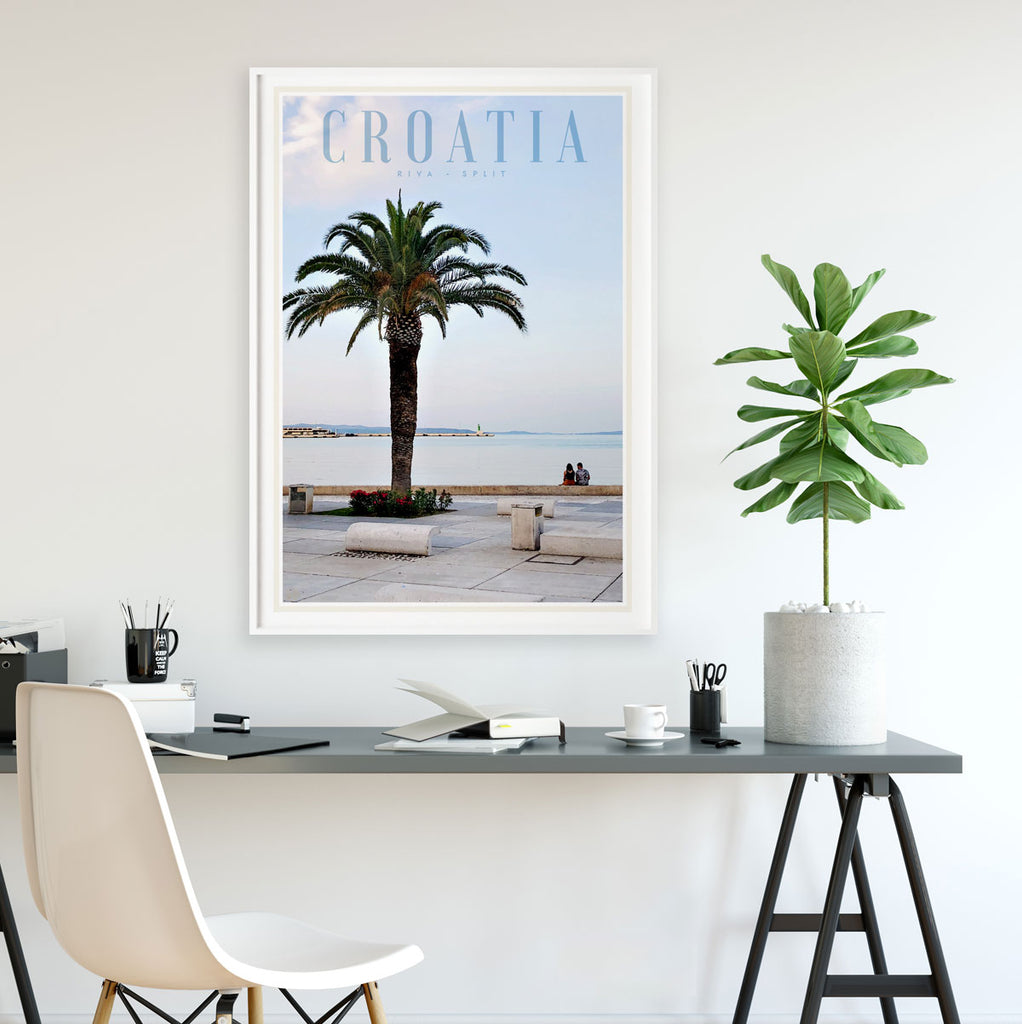Split Croatia vintage travel style framed print by places we luv