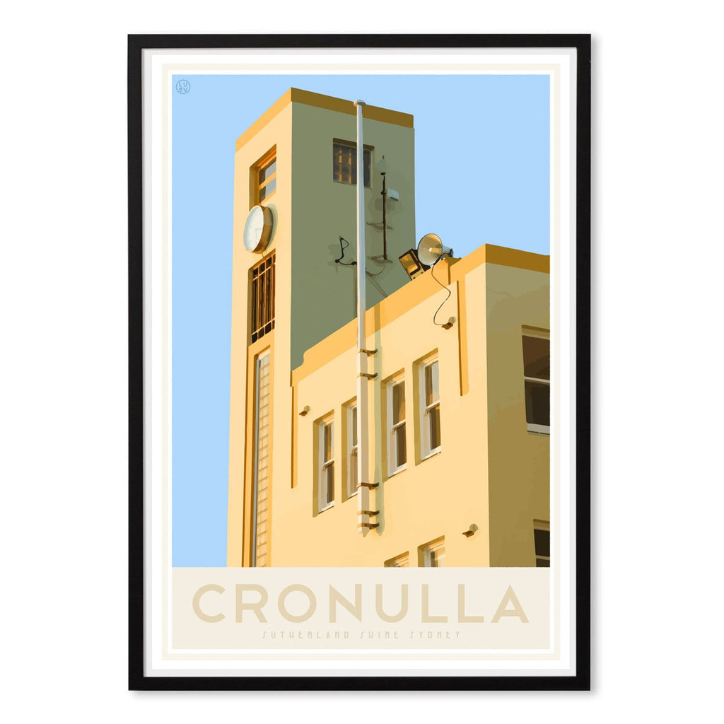 Cronulla Beach vintage travel style black framed print, designed by places we luv