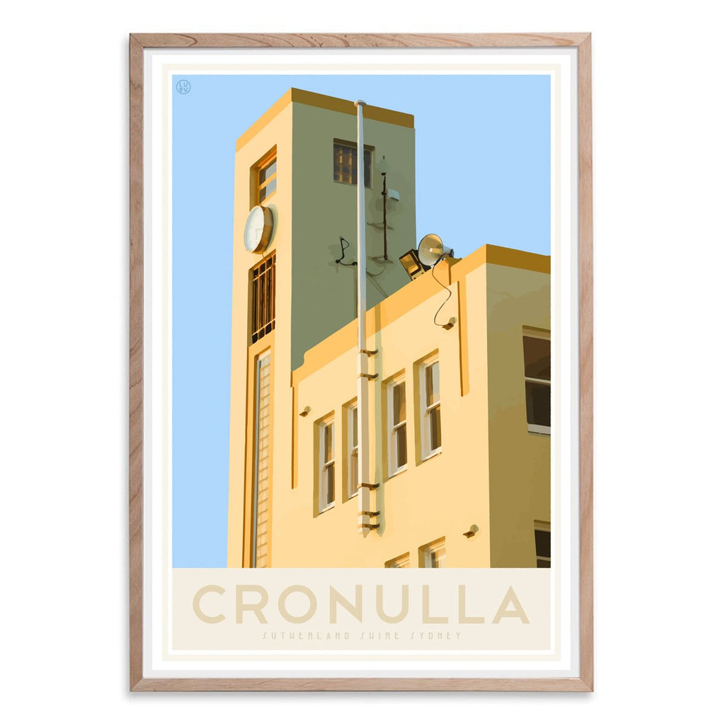 Cronulla Beach vintage travel style oak framed print, designed by places we luv